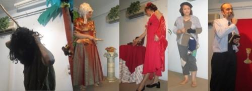 Personagens das 5 reencarnações da peça.